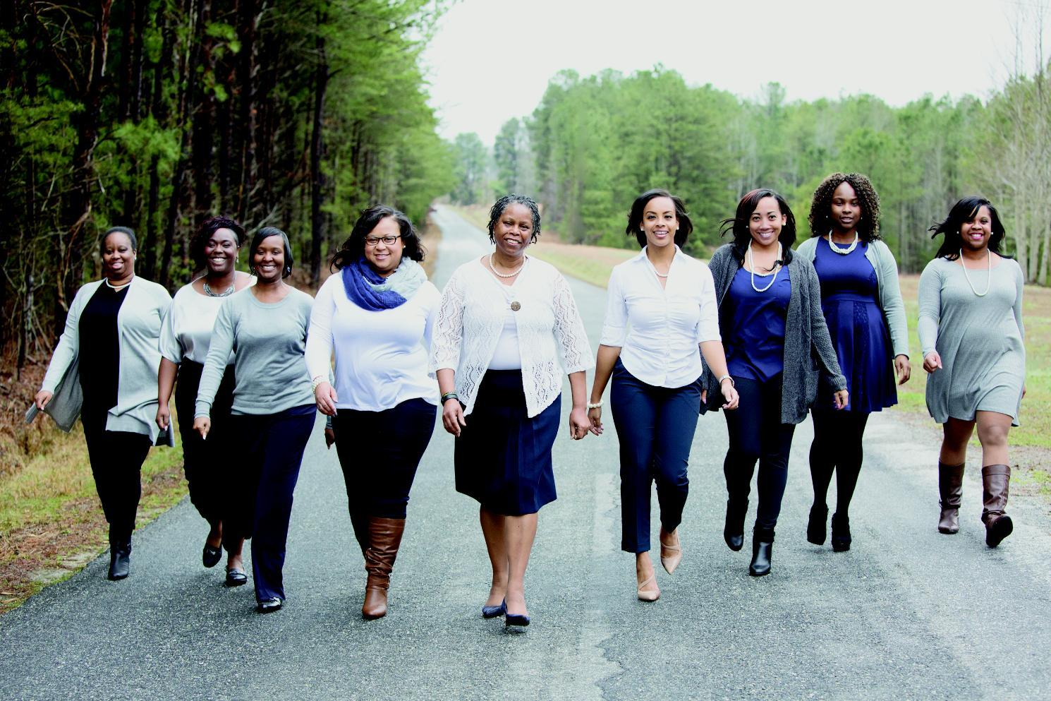 Keeping Longwood in the family: Shawnta Farrar '00 (left), Stacie Whisonant '03, Wartena Crowder Somerville '06, Sonya E. Ragsdale '10, Hattie Farrar '95, Christy Falika Grigg '09, Sierra Hurt '10, Kimberlee Whisonant '06 and Tacarra Marchman '08.