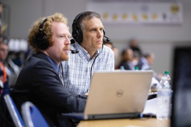 Sam Hovan (left), the new Voice of the Lancers, announces men's basketball and several other sports. He recently was joined by Rohn Brown '84, who provides color commentary for broadcasts of men's basketball games on WVHL FM. (Photo courtesy of Mike Kropf '14)