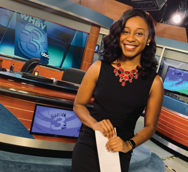 Autumn Childress followed in her mother's footsteps to a job reporting the news for television. (Photo courtesy of Autumn Childress '18)
