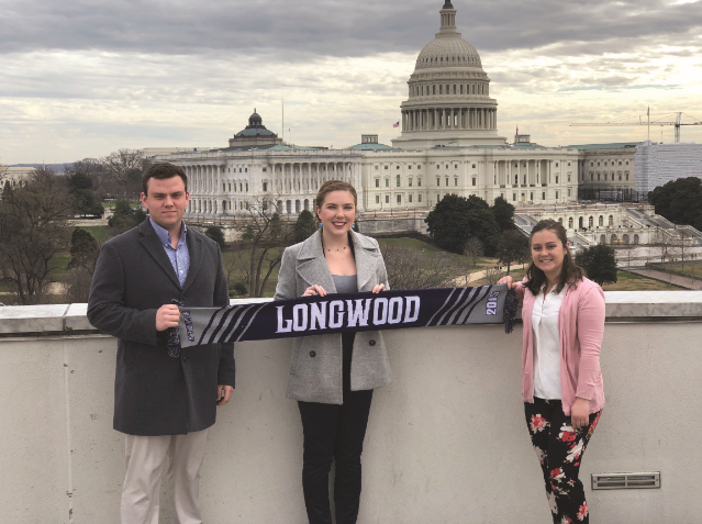 Caroline Carter '19 (center) spent a day immersed in the Washington, D.C., political scene while shadowing Kaitlin Owens '16 (right), a criminal justice reform and policy analyst with the American Conservative Union Foundation. They met James Scribner '17, regulatory affairs specialist at the National Mining Association, for lunch following a tour of the Capitol.