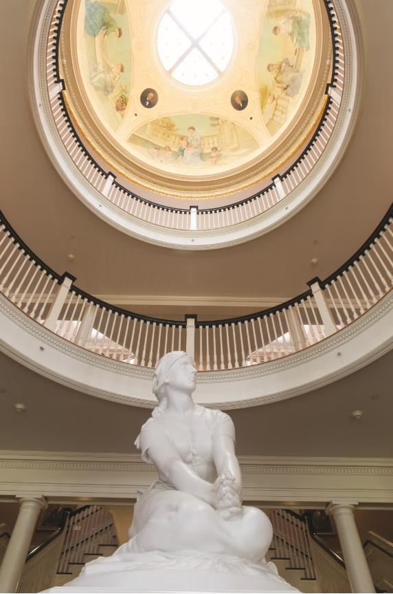 Purchased as a gift by the Class of 1914, this depiction of Joan of Arc, affectionately known as Joanie on the Stony, is centered under the dome of the Rotunda. Henri-Michel-Antoine Chapu (French, 1833-1891); Joan of Arc at Domrémy, 1870; cast by P.P. Caproni and Brother of Boston, 1914; plaster; collection of the Longwood Center for the Visual Arts.