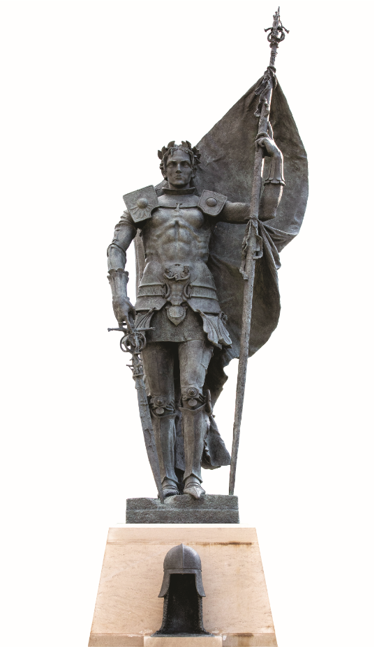 Longwood's newest sculpture of Joan of Arc, standing 15 feet tall, was installed in November 2018 at the southern terminus of Brock Commons. Alexander Stoddart (Scottish, 1959- ); Joan of Arc, 2018; bronze.
