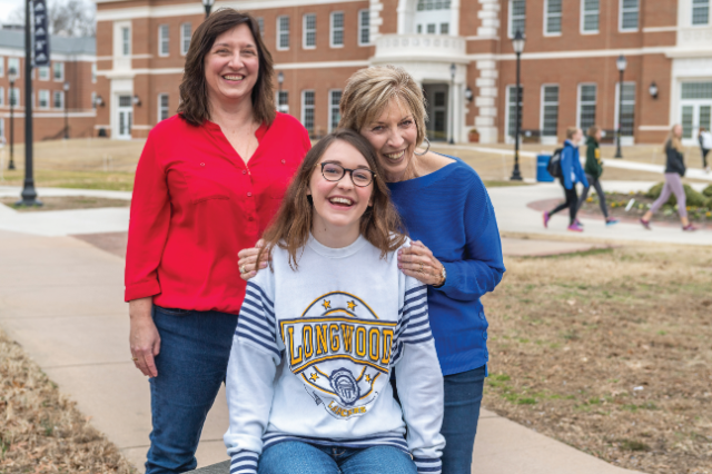 Current freshman Heather Waldo; her grandmother, Donna Carr (right), who purchased the sweatshirt nearly 30 years ago; and Heather's mom, Tamara Smith Waldo '90 (Photo courtesy of Ted Hodges '85)