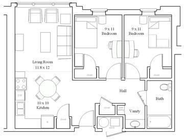 Lancer Park North/South Two Bedroom Floor Plan