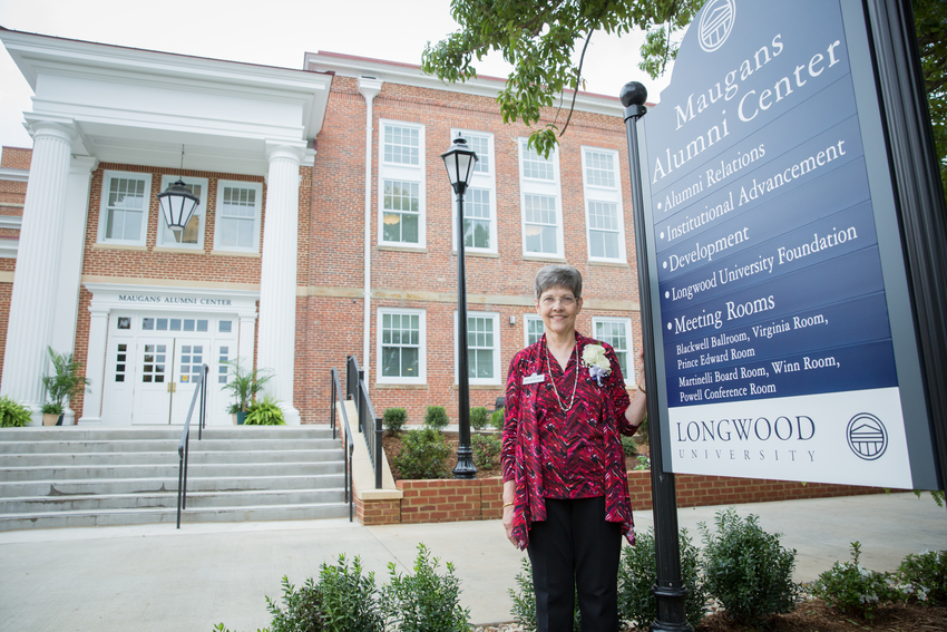 The Maugans Alumni Center, spearheaded by former alumni director Nancy Britton Shelton '68 (pictured), showcases Longwood's history and provides a true home for alumni when they return to campus.