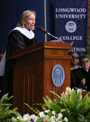 Doris Kearns Goodwin speaking at Longwood's commencement ceremony