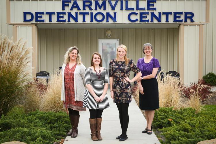 Working with undocumented immigrants at the Farmville Detention Center has been an eye-opening experience for students including Katie Baldacci '17 (second from left) and Katie Goodwin '15. Guiding the students are Dr. Renee Gutiérrez (far right), assistant professor of Spanish, who started the program, and Dr. Connie Koski, assistant professor of criminal justice.