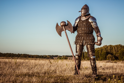 A suit of armor in a field