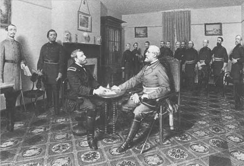 Generals Grant and Lee at Appomattox Court House