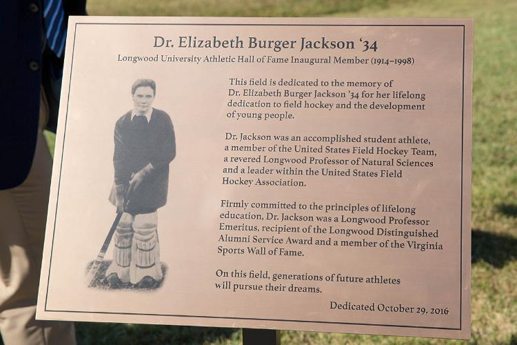 As part of the ceremony, Dr. Jackson's granddaughters unveiled a special plaque that will reside on the concourse of Burger Jackson Field at the Longwood Athletics Complex.