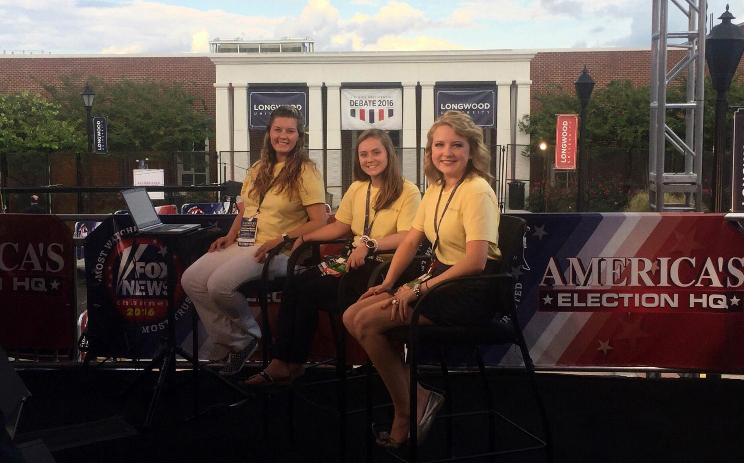 Ryan Carey (left) and Allyson Stone (right) volunteered with Fox News during the 2016 Vice Presidential Debate at Longwood. The pair will work with Fox again during this February's Super Bowl in Houston.