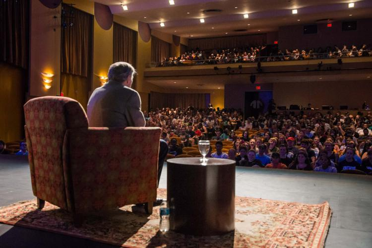 A lively Q&A session with a packed room of Longwood freshmen.