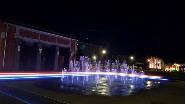 Fountains glowing in preparation for VP Debate