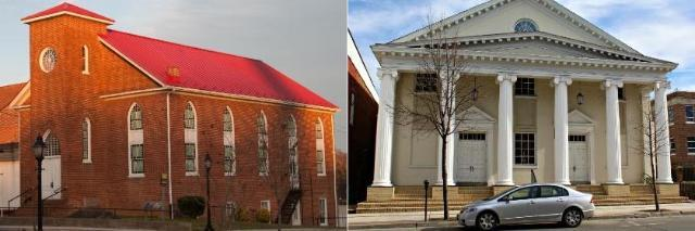 Left: First Baptist Church, Right: Farmville Baptist Church [Credit: monroega.blogspot.com]