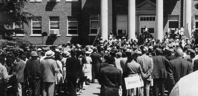 The NAACP Protest on the steps of Prince Edward County Courthouse, 1961.