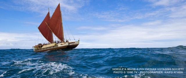 Sailing vessel Hokule'a © 2015 Polynesian Voyaging Society. Photo Credit: OIWI TV Photographer: Kaipo Ki'aha