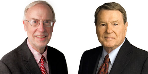 Dan Balz (l) and Jim Lehrer (r)