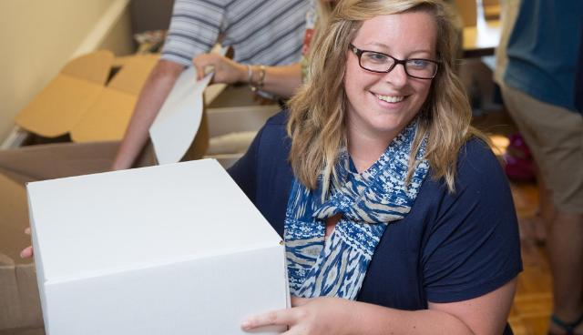 Danielle Hennessey was part of the crew that helped assemble kits for alumni hosting watch parties the night of the Vice Presidential Debate on Oct. 4