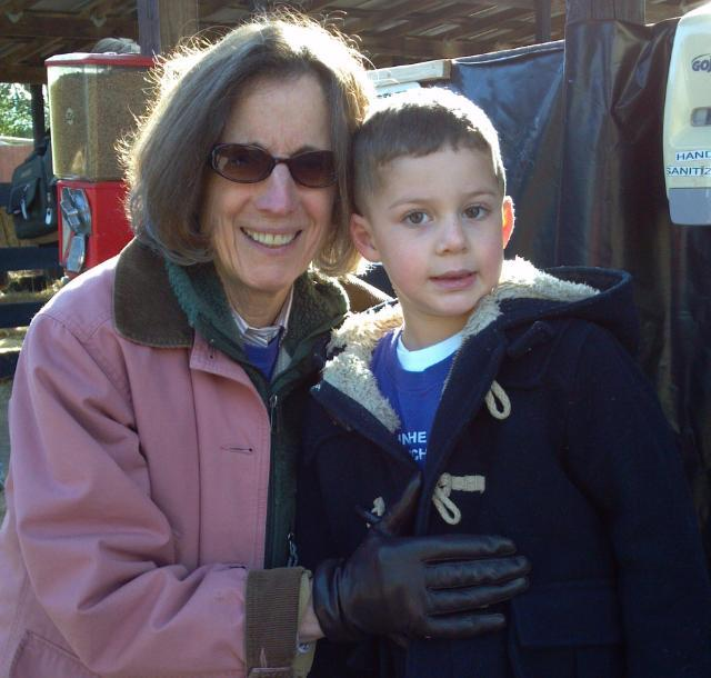 Dr. Taylor with a former preschool student on an autumn field trip to Pumpkinville outside of Leesburg, Va.