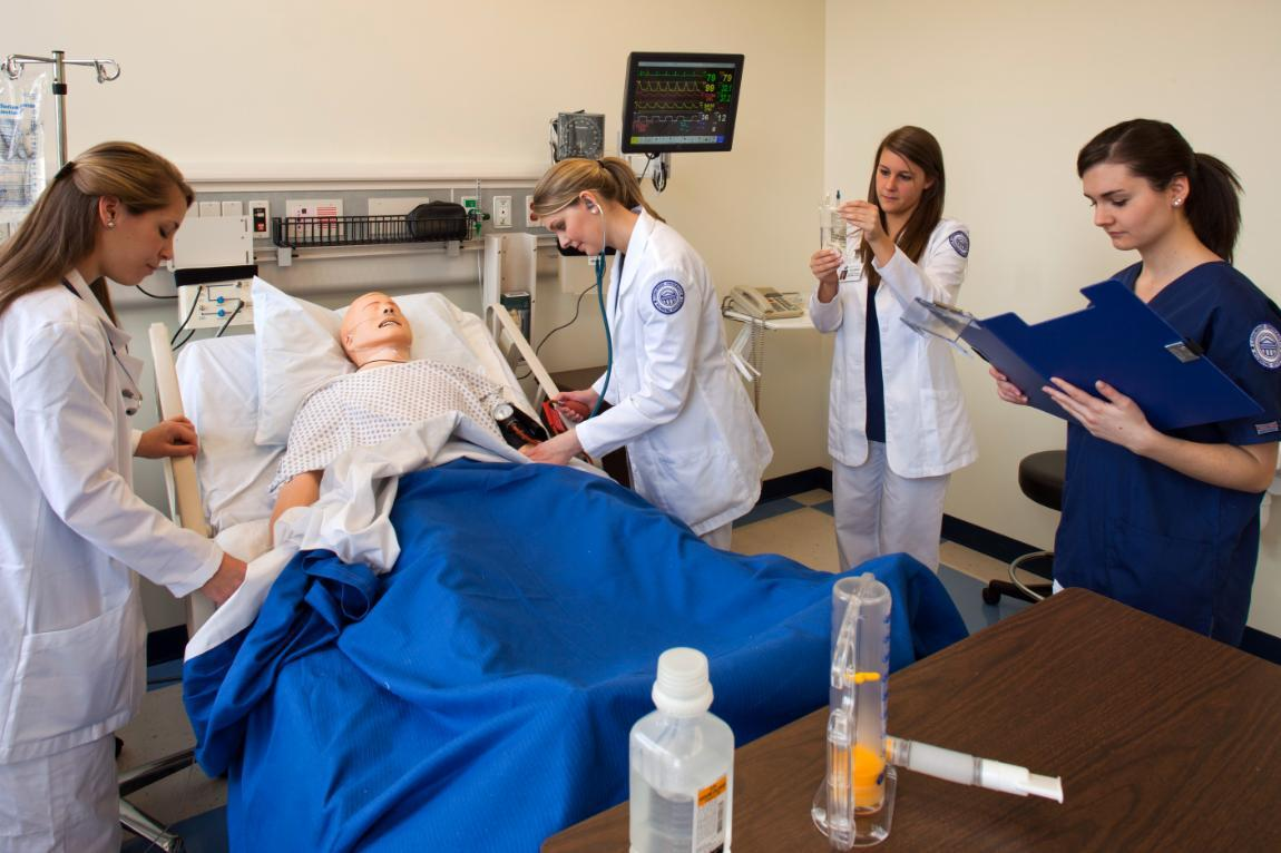 Longwood nursing students gain valuable hands-on experience during clinical exercises in the state-of-the-art Edward I. Gordon Clinical Simulation Learning Center.