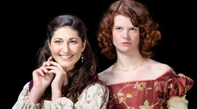 Ally Farzetta as Bianca and Annabelle Rollison as Kate in The Taming of the Shrew.