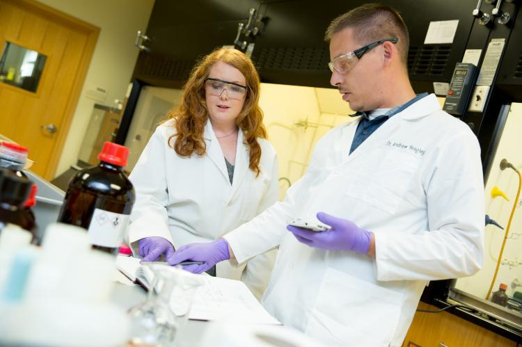 Katelyn Jones with Dr. Andrew Yeagley, assistant professor of chemistry