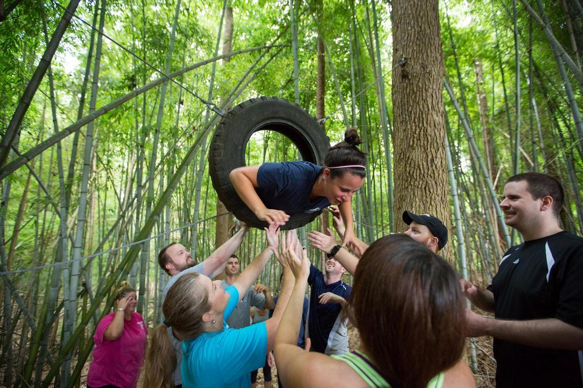 A highlight of the MBA residency is a team building trip to Longwood's ropes course near campus