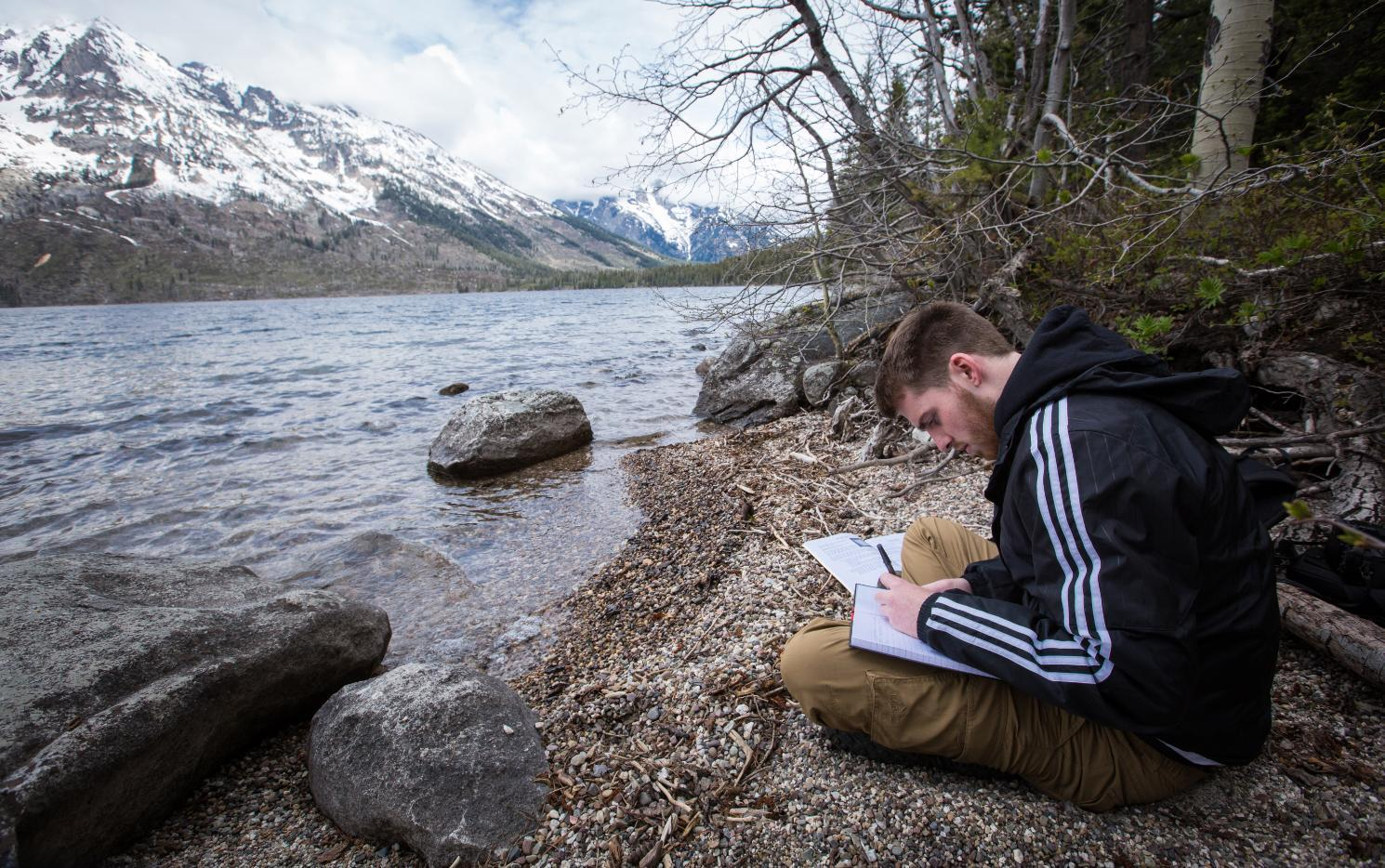 Longwood student studying on a trip to Yellowstone