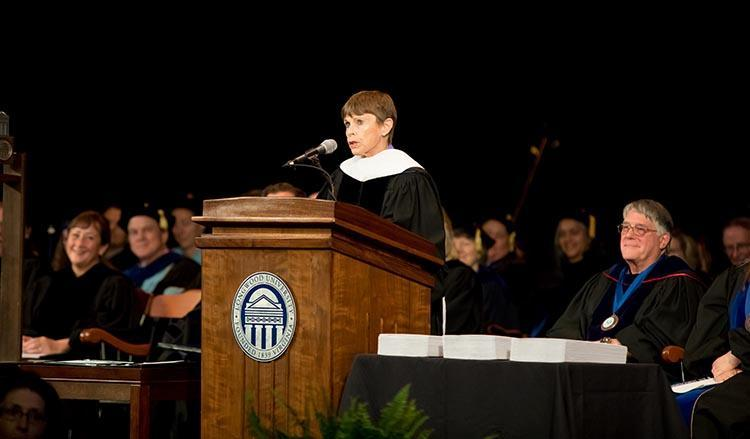 Joan Brock delivers an address at the 2018 Longwood Graduate Commencement Ceremony.