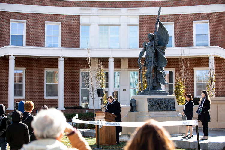 The Joan of Arc monument, Longwood's third of the 15th-century French heroine, was dedicated Friday after more than three years of work by a renowned Scottish artist