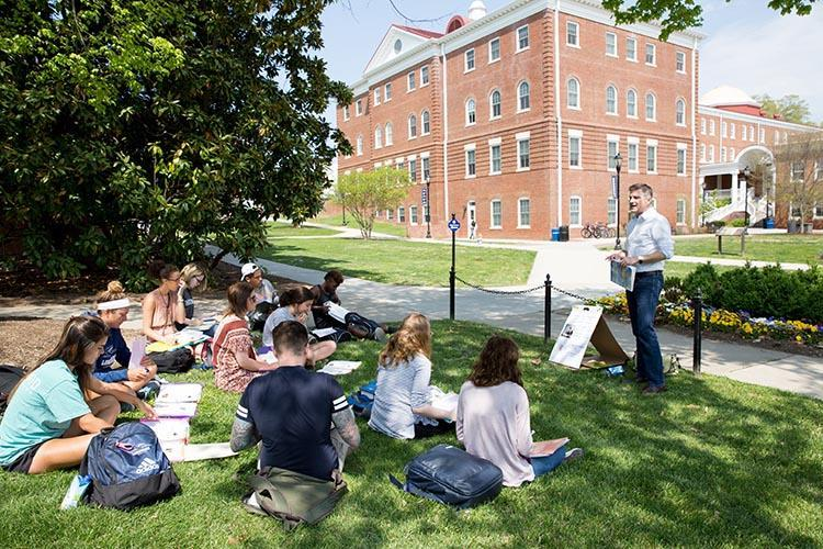 Class taking place outdoors at Longwood University