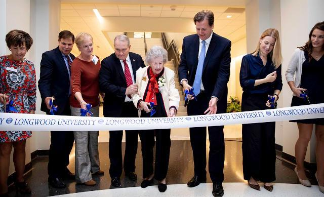 Elsie Upchurch '43, joined by President W. Taylor Reveley, IV and other Longwood dignitaries, was on hand to cut the ribbon to officially open the new Upchurch University Center on Friday.