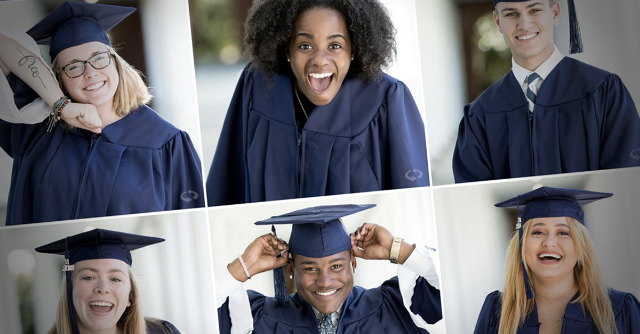 Longwood graduates in cap and gown