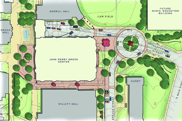 Site plan showing the location of the Joan Perry Brock Center