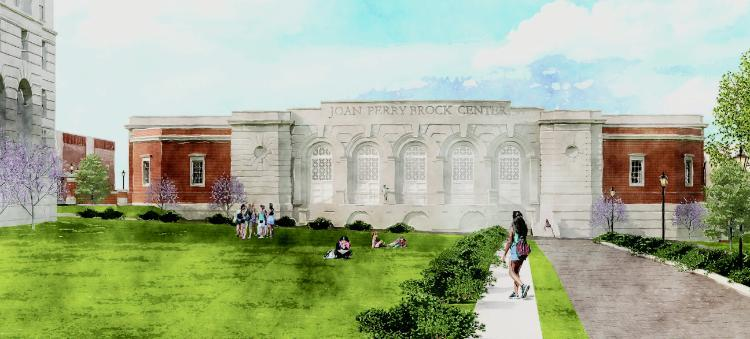 Artist's rendering of Joan Perry Brock Center viewed from Main Street
