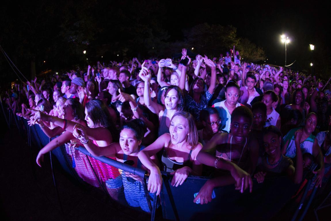 Longwood students enjoy a concert at Oktoberfest