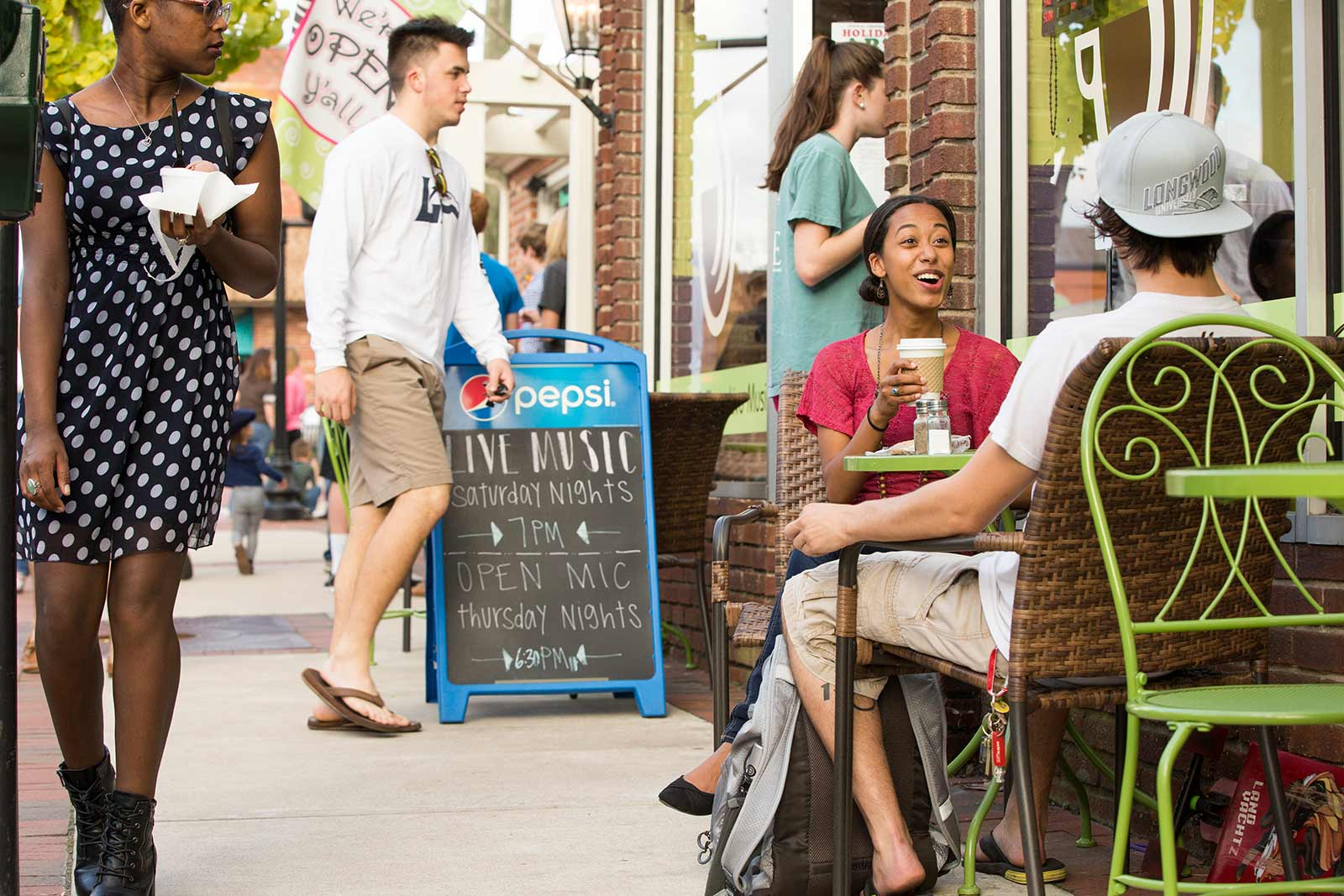 Students are often found hanging out downtown. Farmville's lively Main Street is lined with shops and restaurants, and is home to the University Bookstore.