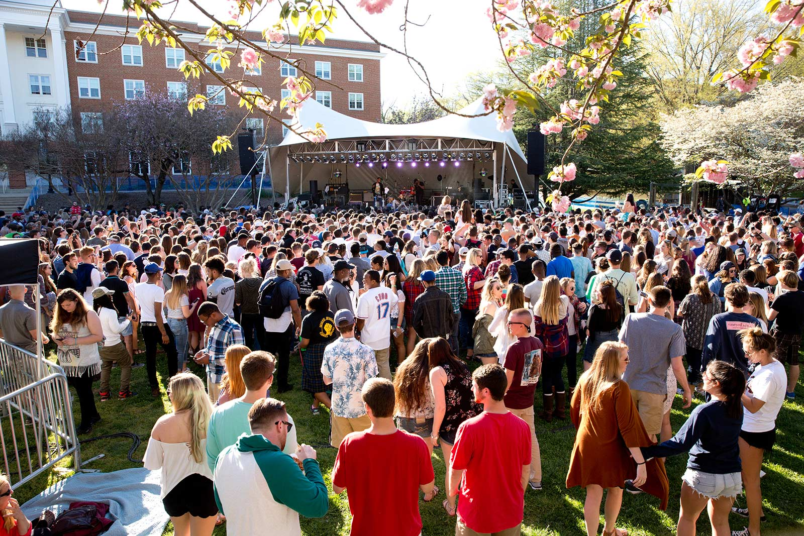 Stubbs Lawn, where students gather for entertainment and fun, is home to activities during the two big weekends each year—Oktoberfest and Spring Weekend.