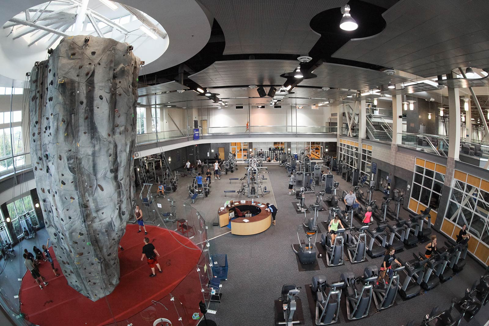 Physical fitness is an important aspect of student life. Our Health and Fitness Center features a 30-foot climbing wall, a two-court gymnasium, power-lifting room, group-fitness studio, two racquetball courts, an indoor track and more!