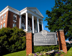 Longwood University building and welcome sign